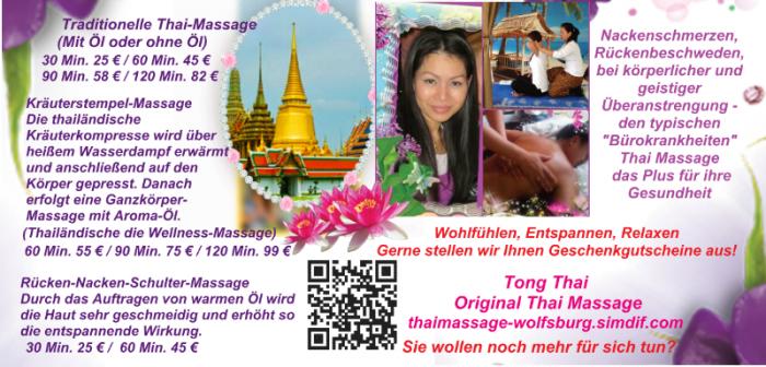 Kontaktformular Thaimassage in Wolfsburg